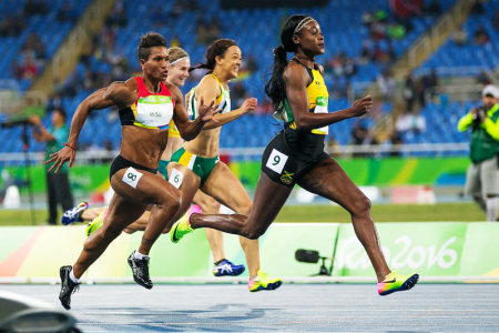 FULL SPEED: Toea Wisil in full stride in the women's 100m heat. PHOTO: J. Pini/ Team PNG.