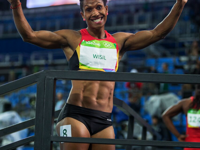 ALL SMILE: Toea Wisil in good spirits after her race. PHOTO: J. Pini/ Team PNG.