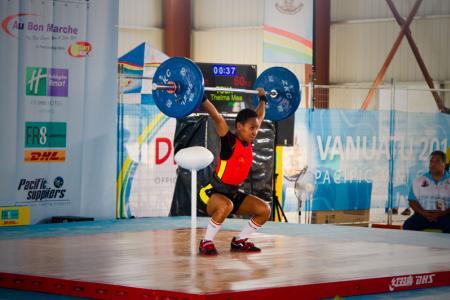 Thelma Tou, Women's 48kg weightlifting. Pacific Mini Games, Vanuatu, December 5, 2017.