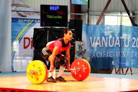 Dika Tou, Women's 53kg weightlifting. Pacific Mini Games, Vanuatu, December 5, 2017.